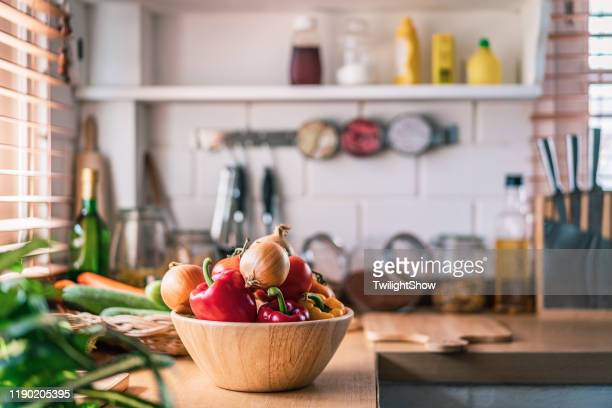 kitchen in real home - kitchen background stock pictures, royalty-free photos & images