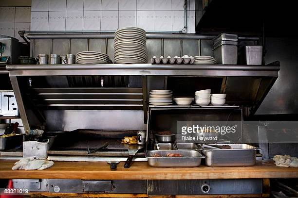 kitchen in restaurant - diner stock pictures, royalty-free photos & images
