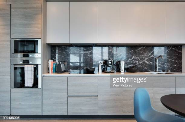 Kitchen in showroom flat Gateway Pavilions London United Kingdom Architect Marks Barfield Architects 2014