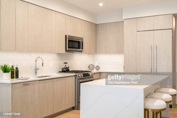 Kitchen in the Sales Center Model at Dylan on August 13, 2021 at Potomac Yard in Alexandria Virginia.