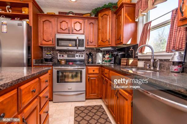 Kitchen interior of middle class American home in Kentucky USA