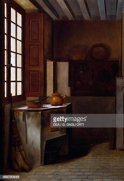 Kitchen interior painting by Emma Trimolet