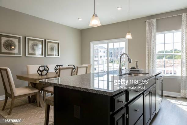 Kitchen Island in the Mozart Model Home at Blackburn Townhomes on September 6, 2019 in Manassas Virginia.