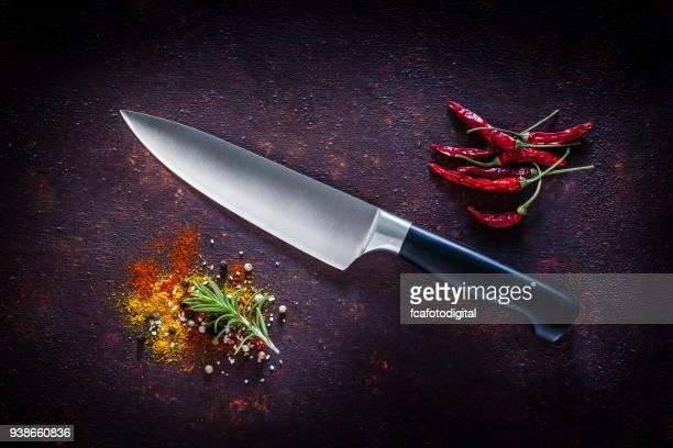 Kitchen knife shot on dark background