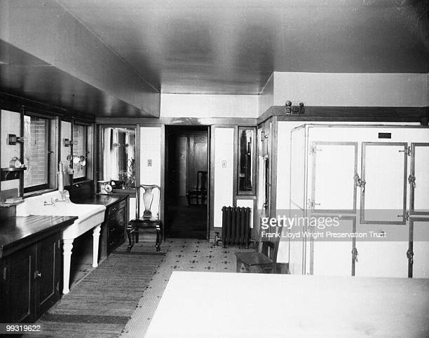 Kitchen looking east with view of icebox and sink Chicago Illinois 1916
