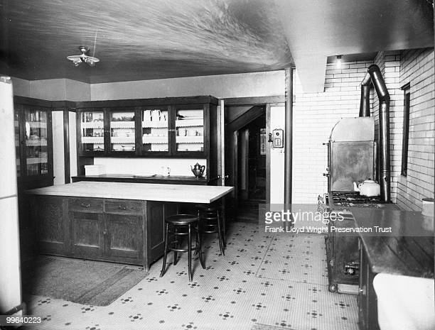 Kitchen looking northwest with view of island cabinetry and stove Chicago Illinois 1916