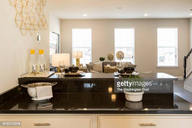 Kitchen looking towards Living Room in the Cambridge model home at Spring Creek on January 24 2018 in Laurel Maryland