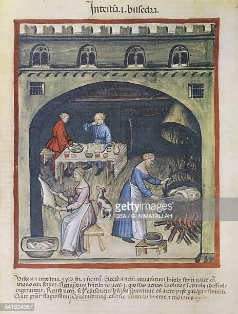 Kitchen miniature by Giovannino De Grassi from Tacuinum sanitatis Latin manuscript 14th century Vienna Österreichische Nationalbibliothek