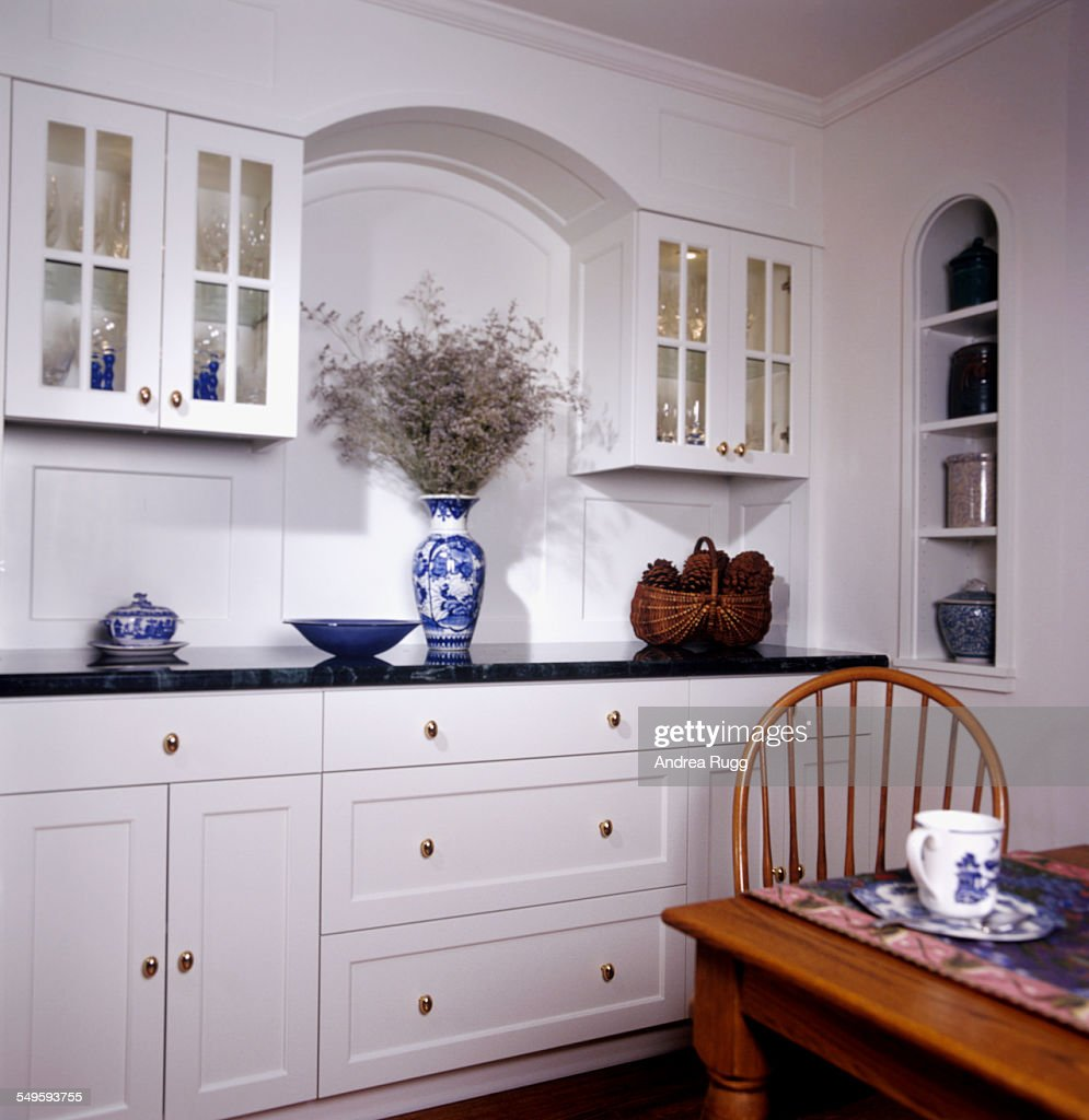Kitchen Nook With White Cabinets And Drawers High Res Stock Photo Getty Images