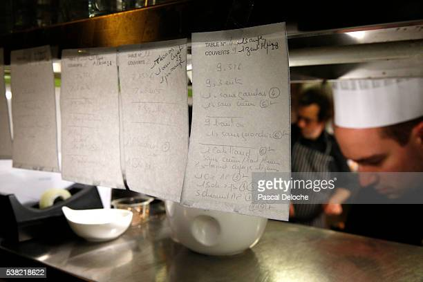 Kitchen of a restaurant. Orders.