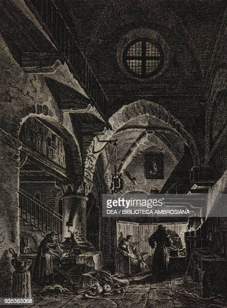Kitchen of the Franciscan monks, engraving from a painting by Giovanni Migliara, from the Exhibition of Fine Arts in Brera, 1828 Almanac.
