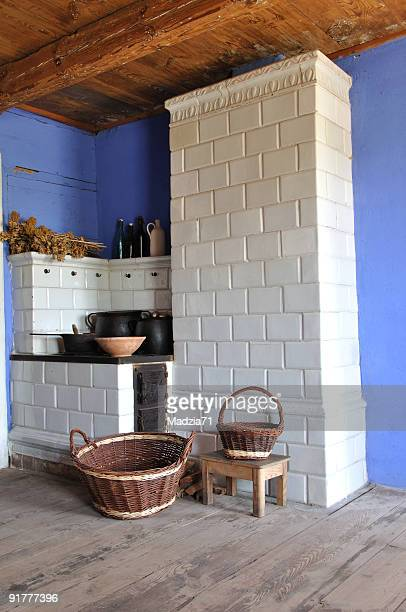 kitchen - wood burning stove stock photos and pictures