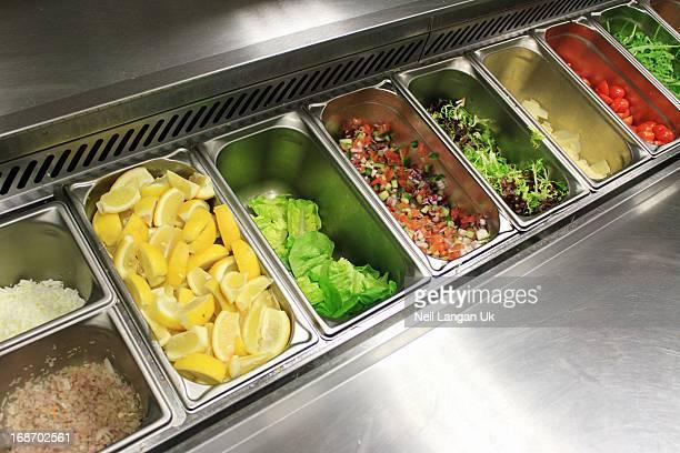 kitchen salad preparation bar