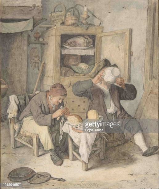 Kitchen Scene Black and red chalk brown gray blue yellow red washes sheet 10 9/16 x 8 7/8 in Drawings Cornelis Dusart