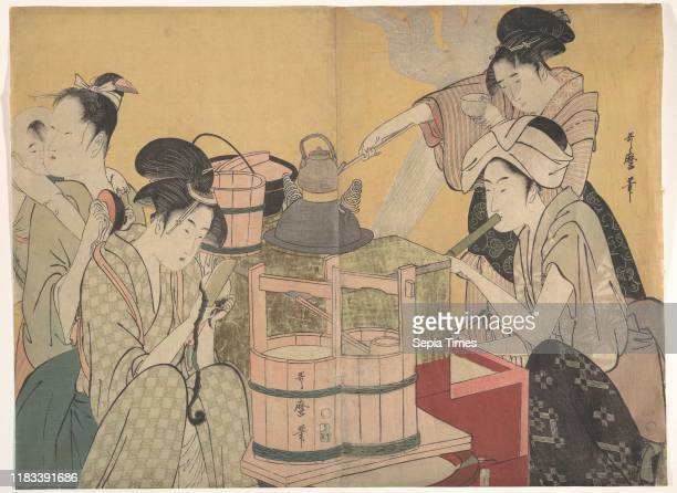Kitchen Scene Edo period circa 179495 Japan Diptych of polychrome woodblock prints ink and color on paper Image 14 5/8 _ 9 7/8 in Prints Kitagawa...