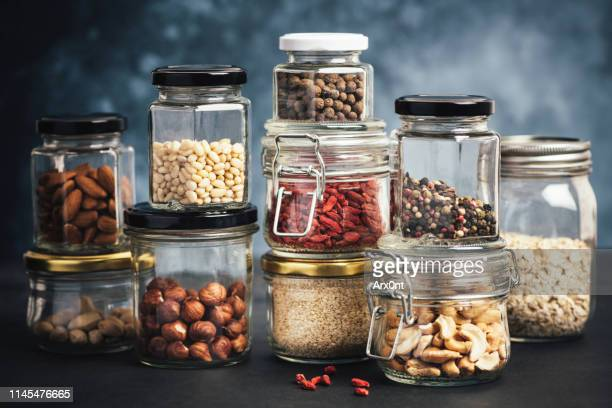 kitchen shelf with jars - glasburk bildbanksfoton och bilder