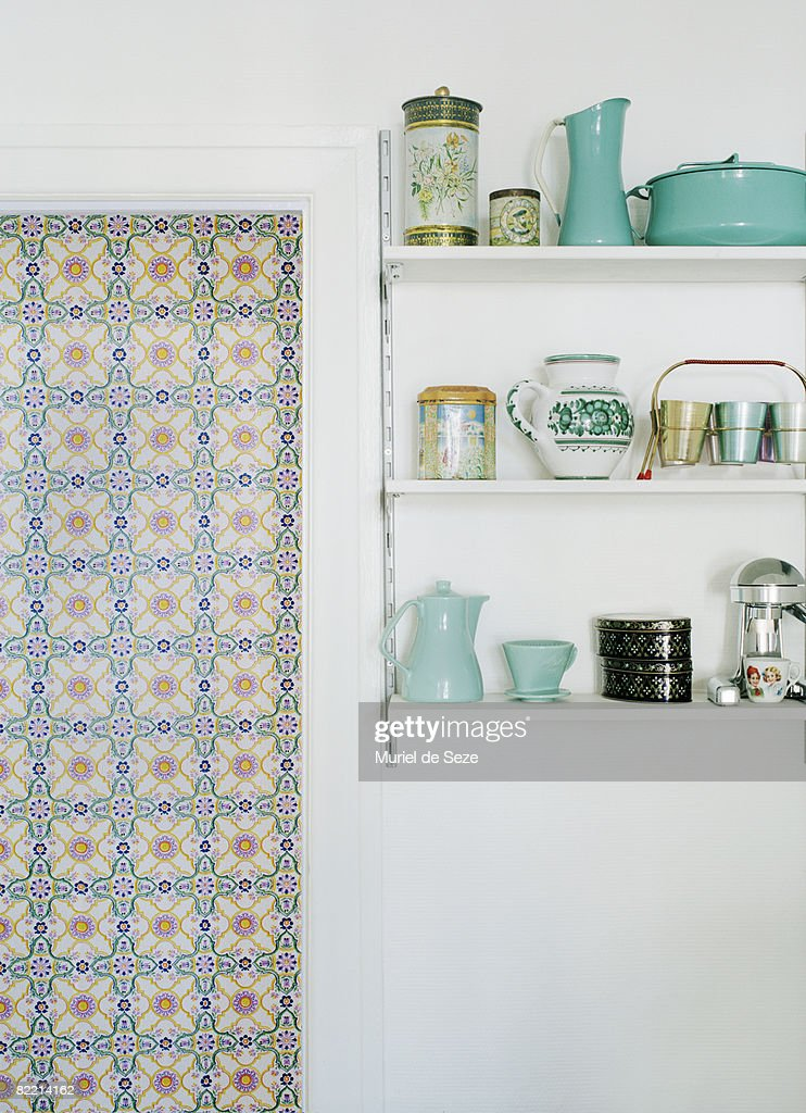 Kitchen shelves with crockery : Stock Photo