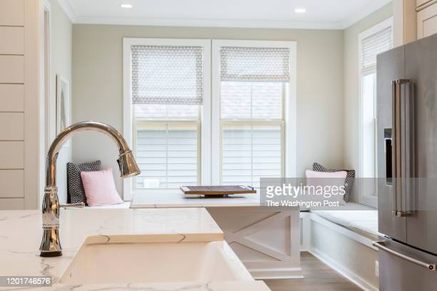 Kitchen Sink with Breakfast Nook behind in the Model Home at Villages of Urbana on February 4 2020 in Urbana Maryland