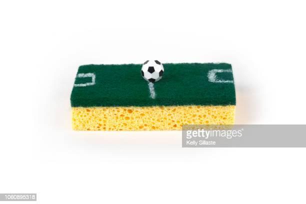 kitchen sponge as a soccer field - fake photos et images de collection