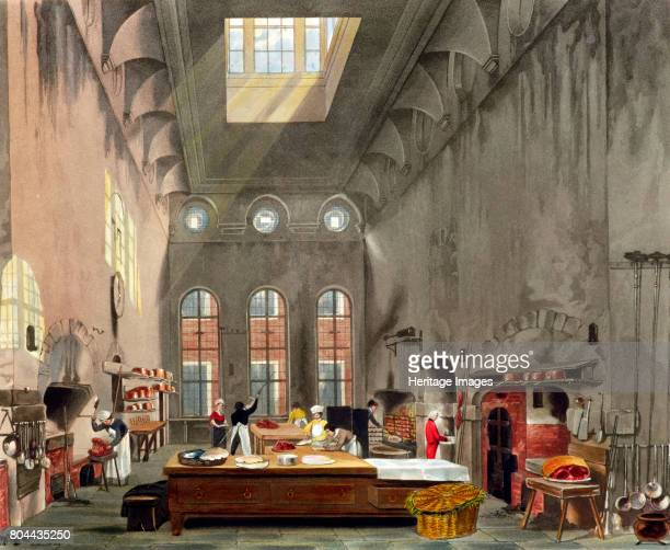 Kitchen, St James's Palace, London, 1819. From The History of the Royal Residences by William Henry Pyne .