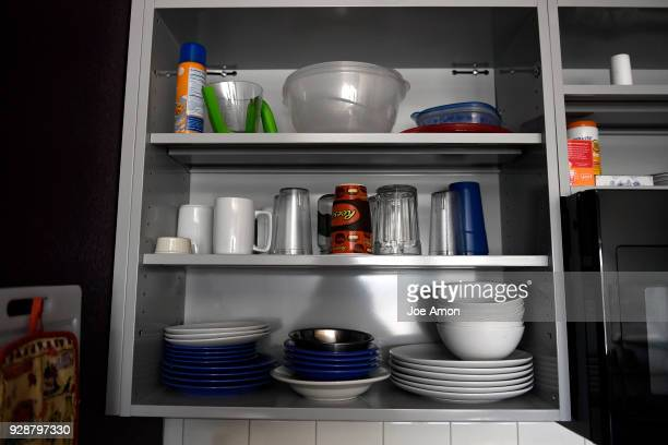 Kitchen storage in the home of Alexander Jacob at the Sanderson Apartments Sanderson is the first apartment building in the country that has 'mental...