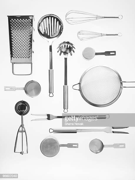 kitchen tools on white background - kitchen utensil stock pictures, royalty-free photos & images