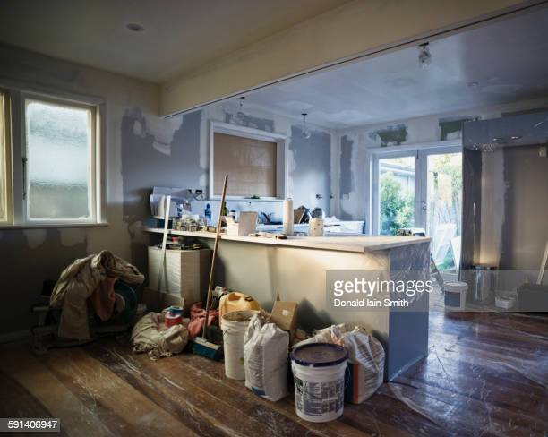 kitchen under construction during remodel - reform stock pictures, royalty-free photos & images