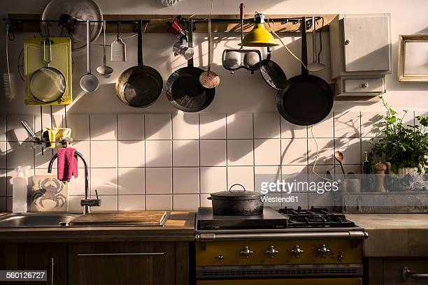 kitchen unit in a domestic kitchen at evening light - 台所 ストックフォトと画像