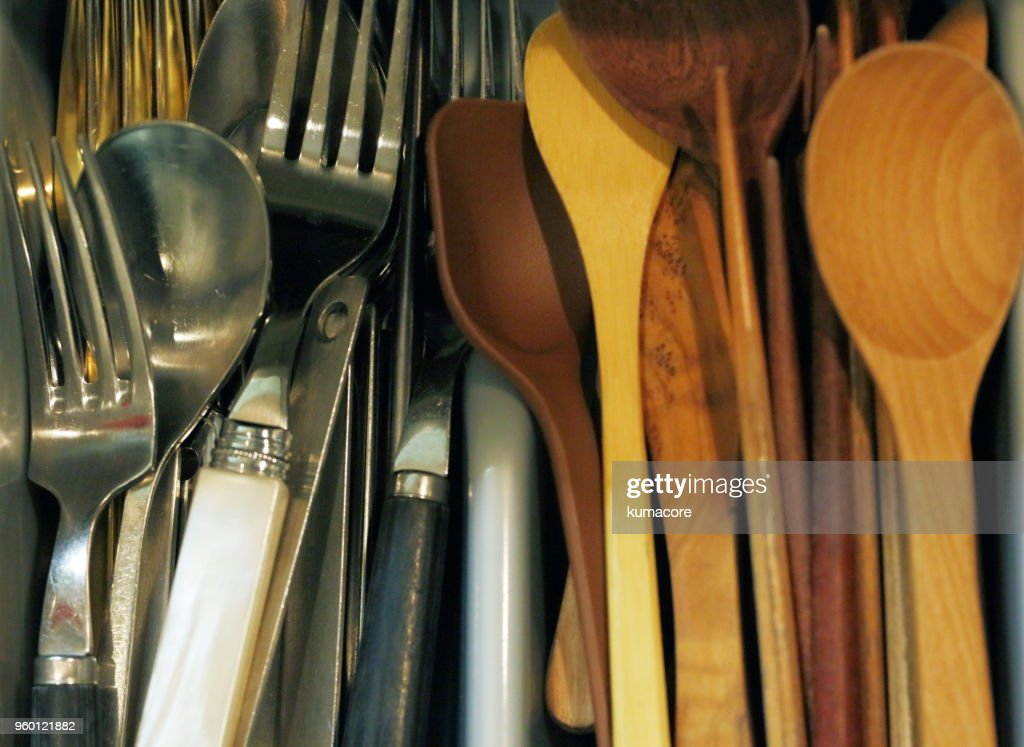Kitchen utensils and cutlery : Stock Photo