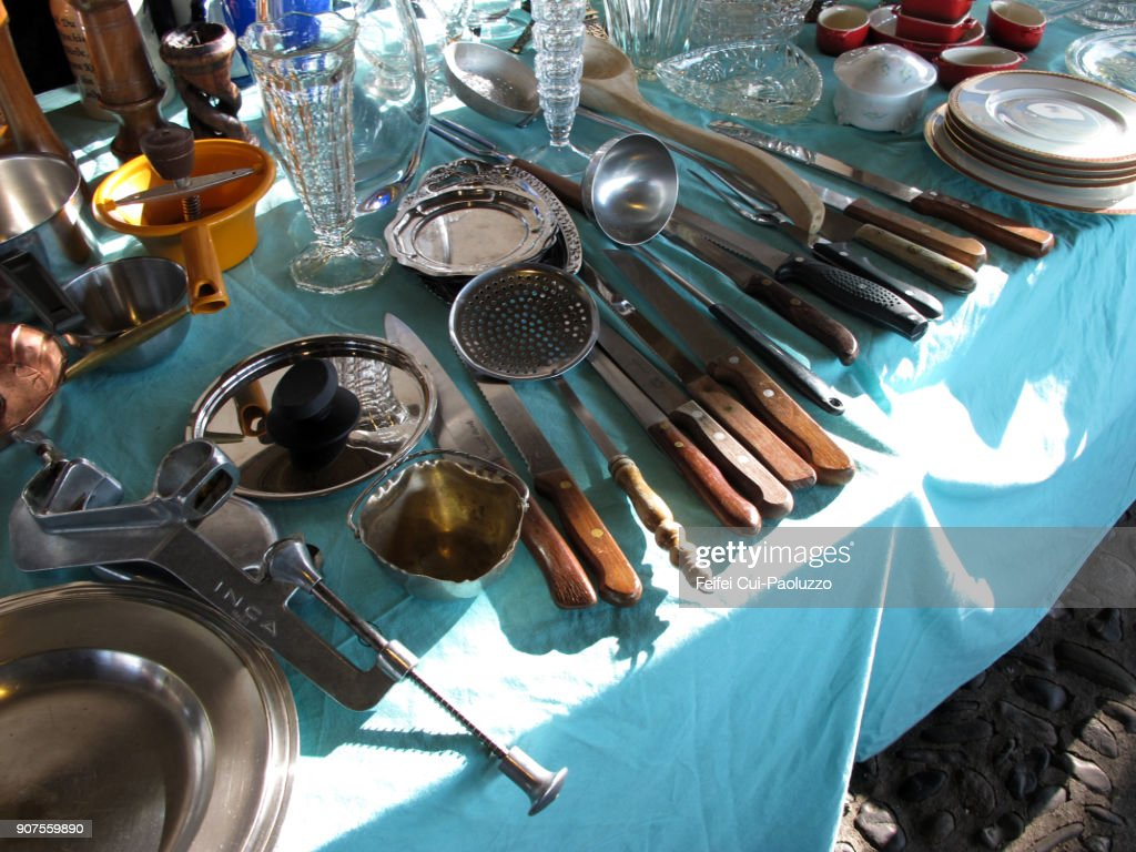 Kitchen Utensils For Sale At Flea Market Stock Photo | Getty Images