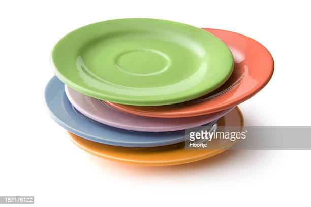 kitchen utensils: plates - crockery stock pictures, royalty-free photos & images
