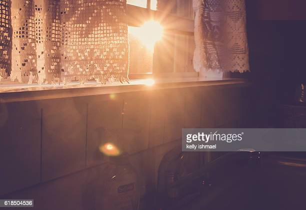 kitchen window - golden hour stock pictures, royalty-free photos & images