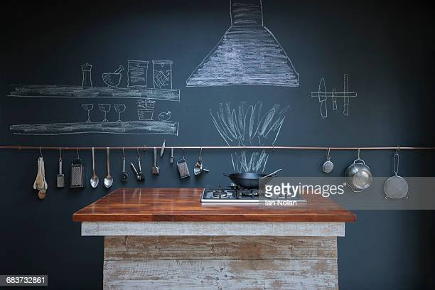 Kitchen with chalkboard wall background