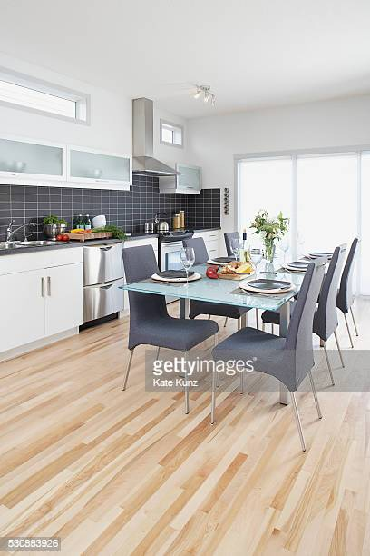 Kitchen with table set