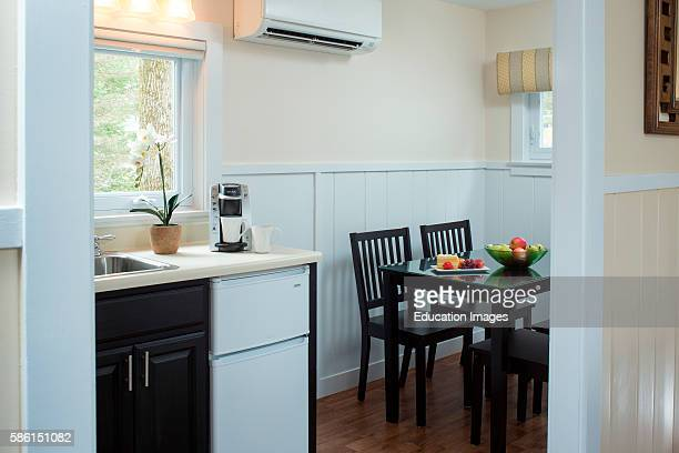 Kitchenette and dining table at a Kennebunkport Inn, Maine Stay Inn, Kennebunkport, ME.