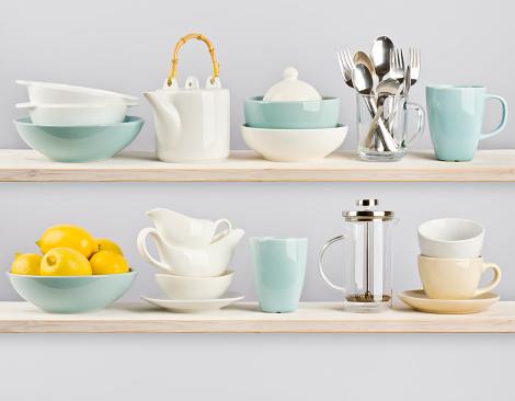 Kitchenware on wooden shelves 526920325
