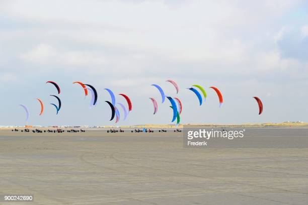 Kite buggies on sandy beach, Sankt Peter-Ording, Schleswig-Holstein Wadden Sea National Park, North Frisia, Schleswig-Holstein, Germany