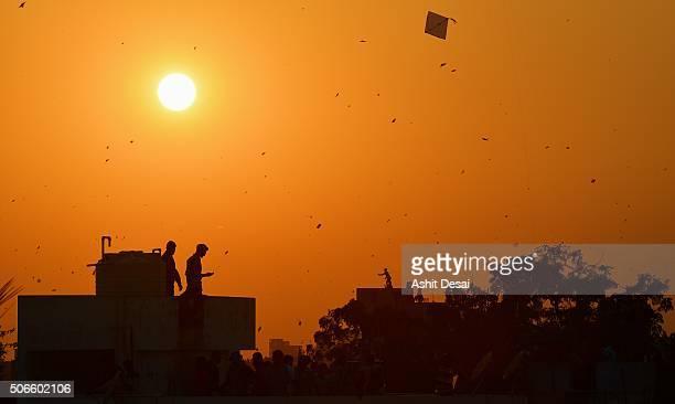 Kite flying festival in Vadodara, Gujarat