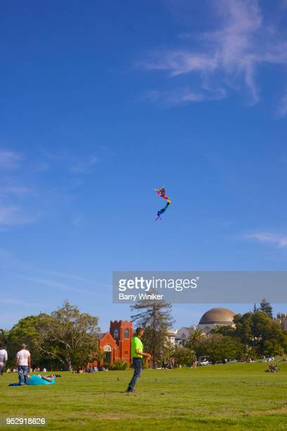 Kite flying in San Francisco's Mission Dolores Park