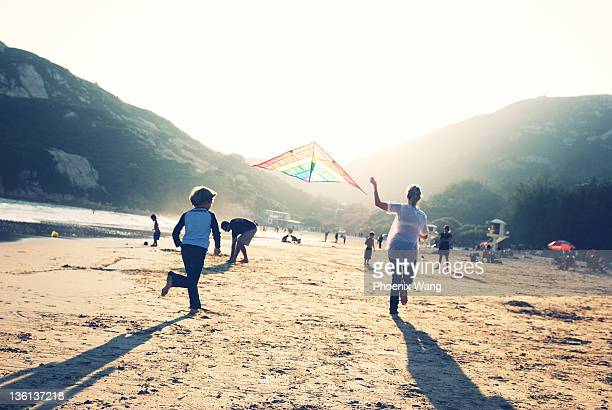 Kite flying on beach