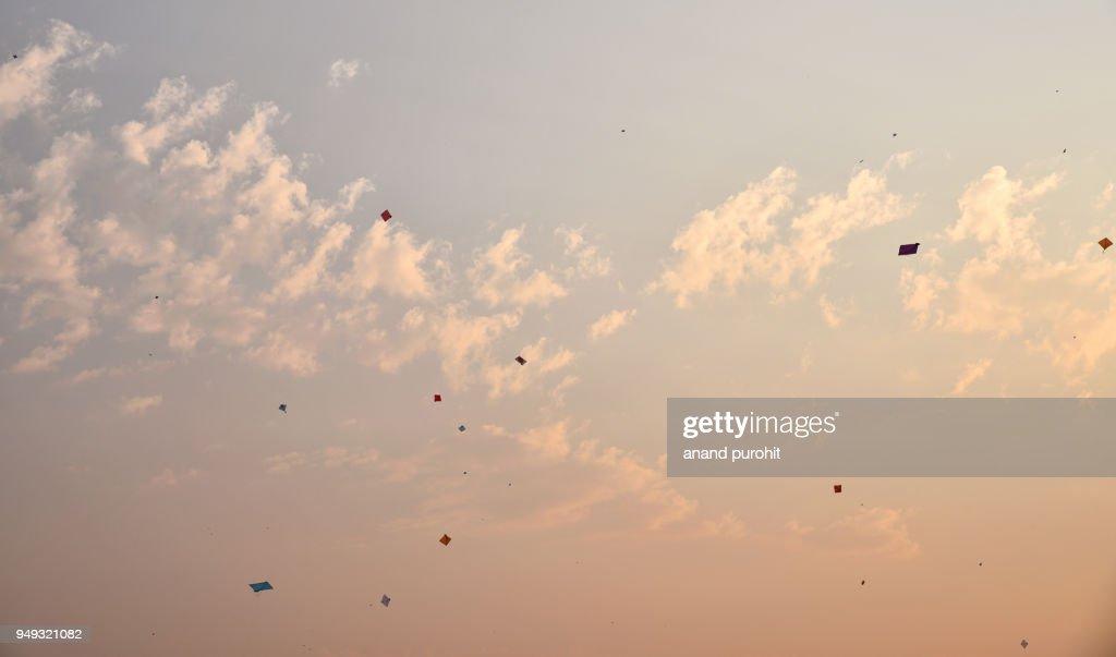 Kite Flying On Uttarayan Ahmedabad Gujarat India Stock Photo