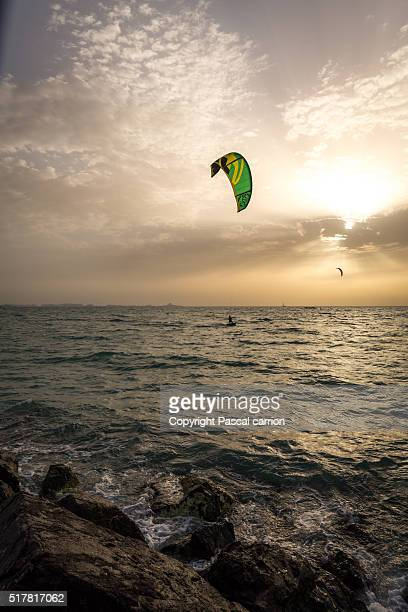Kite surf at sunset in Dubai