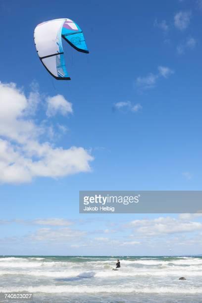 Kite surfer airborne over the sea, Hornbk, Hovedstaden, Denmark