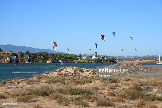 kite surfers 1 - alvor stock pictures, royalty-free photos & images