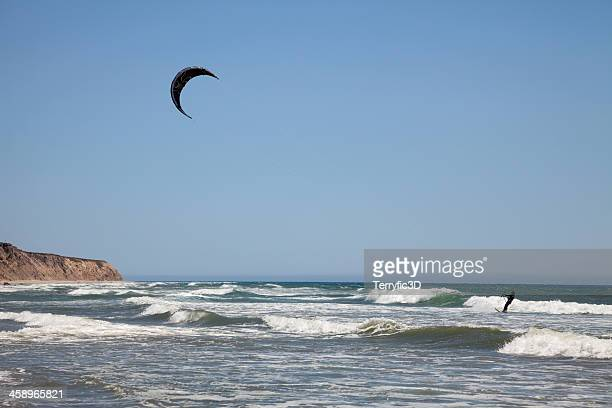 kite surfing at jalama beach, california - terryfic3d stock pictures, royalty-free photos & images