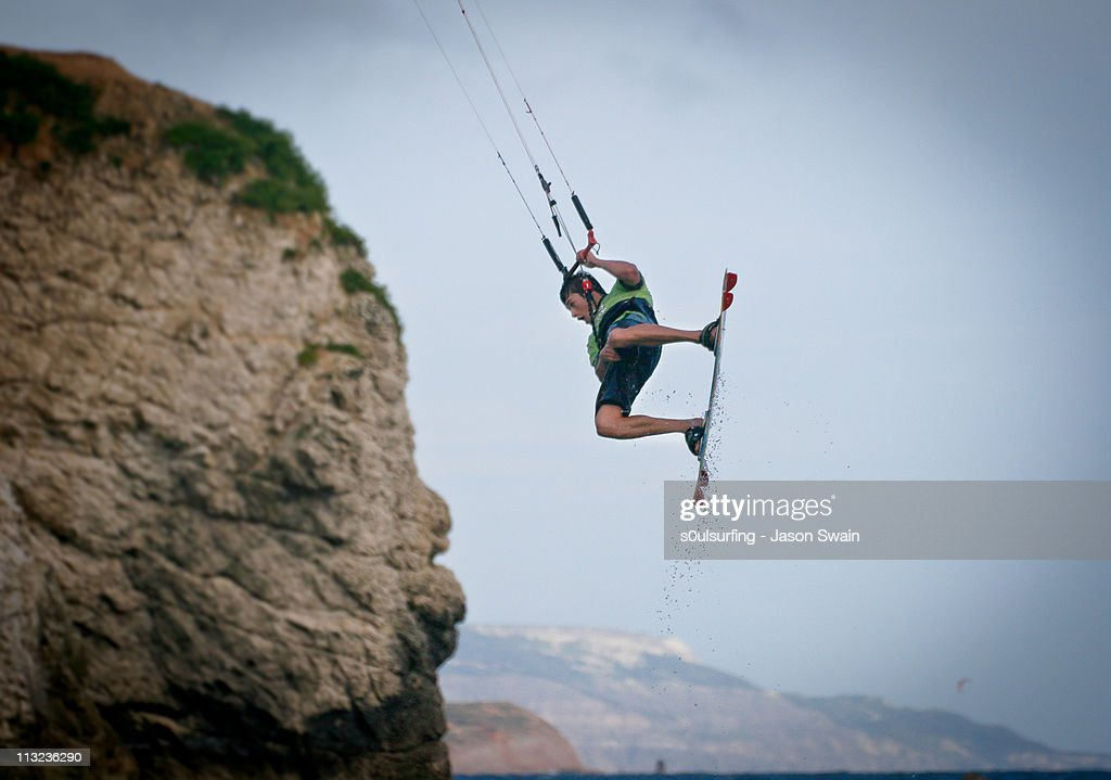 Kite surfing, Freshwater Bay, Isle of Wight : Stock Photo