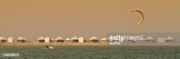 kite surfing in uae - ras al khaimah stock pictures, royalty-free photos & images