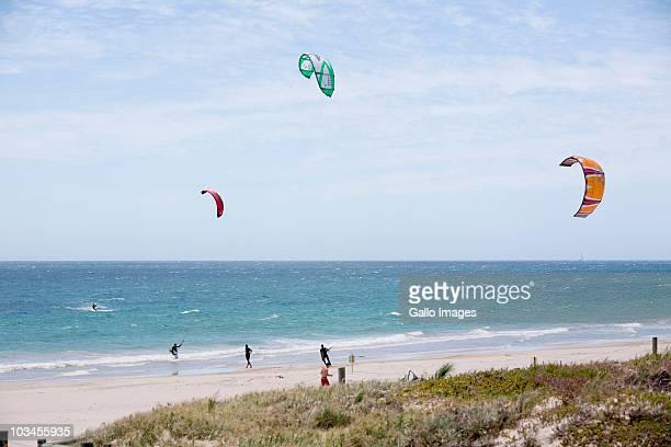 Kite surfing on a beach just outside Freemantle, Freemantle, Western Australia, Australia