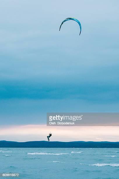 Kite surfing on Balaton lake