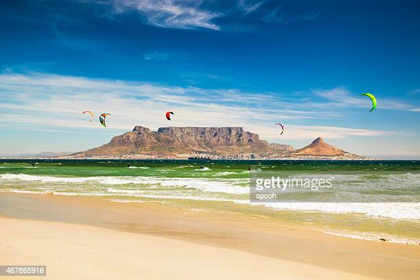 kitebarding near table mountain and cape town in south africa - table mountain stock pictures, royalty-free photos & images